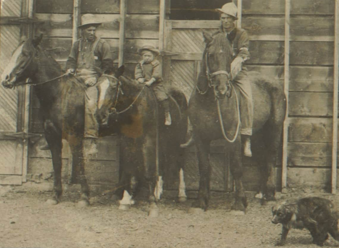 Percy Farnworth (left) on horseback