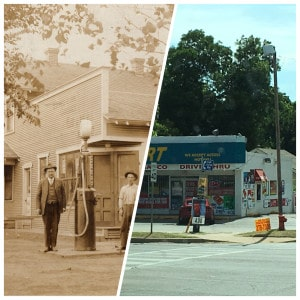 Stevens' Grocery and Gas, then and now